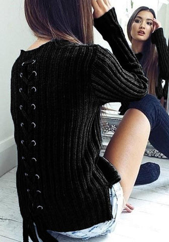 Black Irregular Lace-up Side Slit Round Neck Long Sleeve Pullover Sweater