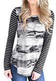 Black Patchwork Striped Camouflage Casual Cotton T-Shirt