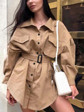 Khaki Buttons Pockets Belt Turndown Collar Long Sleeve Casual Blouse