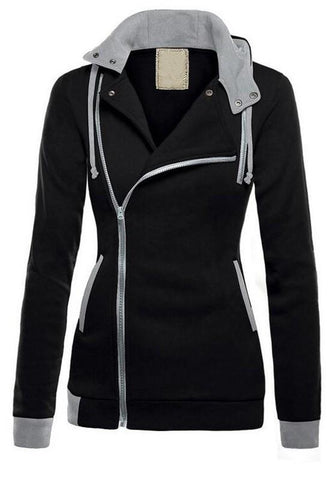Black Zipper Drawstring Pockets Casual Cardigan Hooded Sweatshirt Jackets