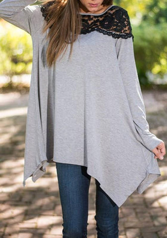 Grey Patchwork Irregular Draped Lace Round Neck Long Sleeve T-Shirt