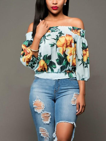 New Light Green Floral Print Draped Plus Size Off Shoulder Backless 3/4 Sleeve Casual Elegant Blouse