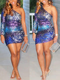 Blue Rainbow Patchwork Sequin Asymmetric Shoulder Long Sleeve Sparkly Glitter Birthday Party Mini Dress