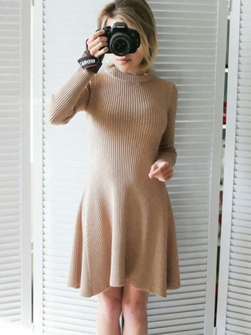 New Khaki Print Round Neck Long Sleeve Fashion Mini Dress