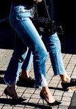 Dark Blue Ripped Destroyed High Waisted Mom Casual Boyfriend Nine's Jeans