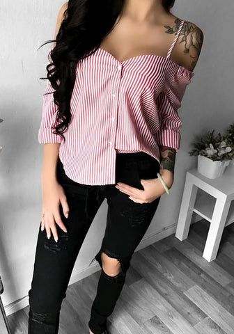 Pink Striped Condole Belt Single Breasted V-neck Blouse