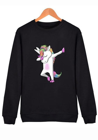 Black Unicorn Print Round Neck Long Sleeve Sweatshirt