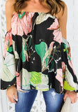 Green Flowers Print Cut Out Boat Neck Fashion T-Shirt