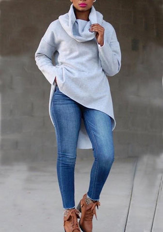 Grey Swallowtail Long Sleeve Cowl Neck High-low Fashion Pullover Sweatshirt