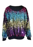Purple Patchwork Sequin Sparkly Round Neck Long Sleeve Oversized Club Pullover Sweatshirt