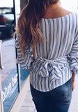 Blue Striped Tie Back Ruffle V-neck Fashion Blouse