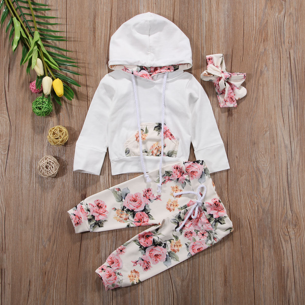 Newbabychic New Infant Baby Girls Clothes Set Long Sleeve Hooded Sweatshirt Tops+Floral Pants Outfits Set Tracksuit 0-24M