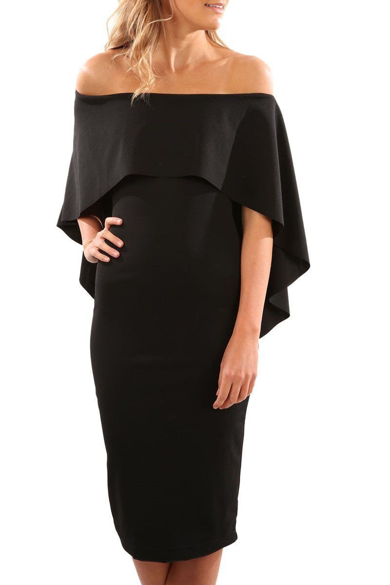 Fashion Onlinechoic Luxurious Off Shoulder Batwing Cape Black Formal Midi Dress