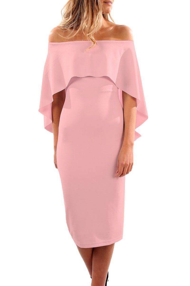 Onlinechoic Luxurious Off Shoulder Batwing Cape Pink Formal Midi Dress