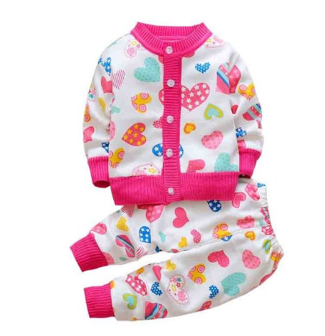 Newbabychic Children Sweater Baby Clothing Set Thick Warm Underwear Pajamas Sport Suit Kids Plus Velvet Causal Clothes