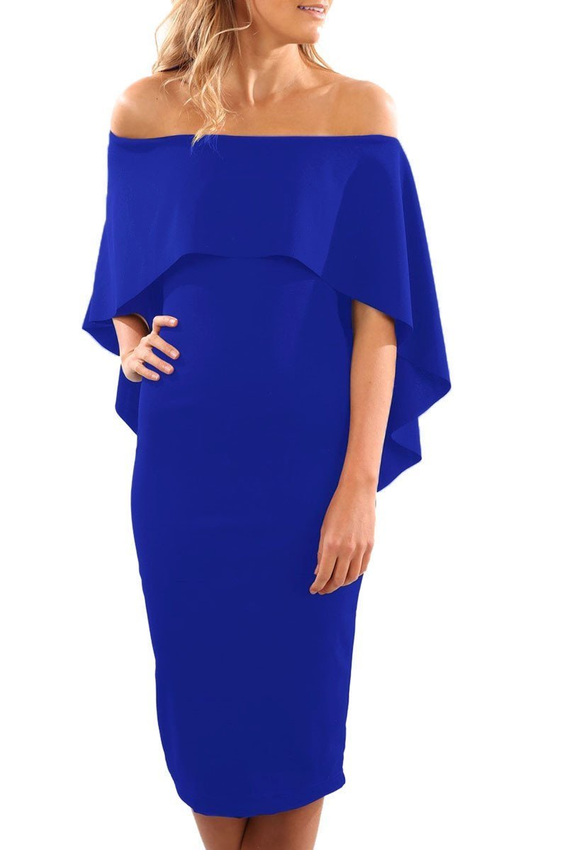 Onlinechoic Royal Blue Luxurious Off Shoulder Batwing Cape Midi Dress