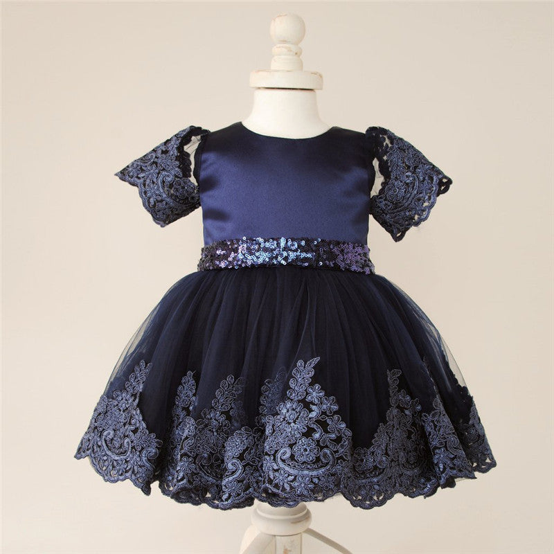 New Baby girl clothes Princess Dress Clothes Short Sleeve Lace Bow Ball Gown Tutu Party Dress Toddler Kids Fancy Dress