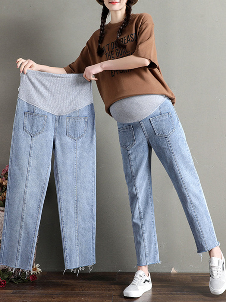 Newbabychic Solid Color Maternity Jeans High Waist Denim Pants