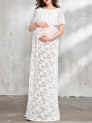 Newbabychic Fancy Lace Pregnant Women Photography Long Dress