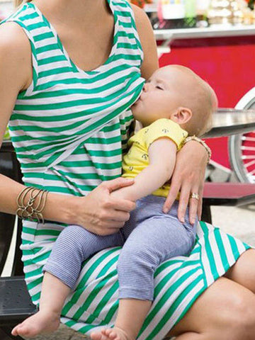 Newbabychic Striped Print Maternity Sleeveless Nursing dress