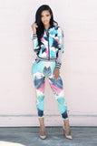 Print Zip Coat with Skinny Pants Two Pieces Set