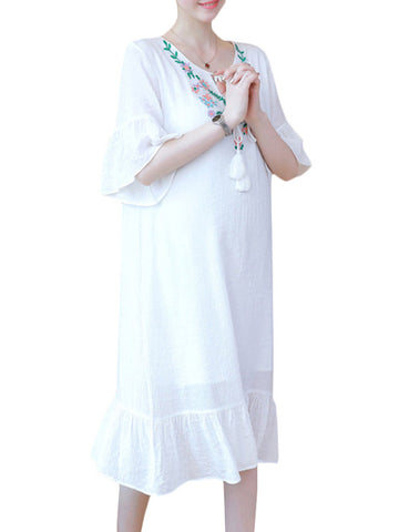 Newbabychic Flower Embroidery Flare Sleeve Summer Dress For Pregnant Women