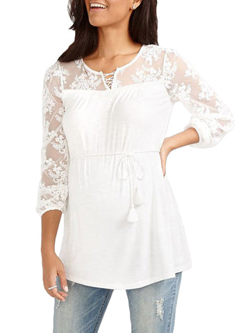 Newbabychic Embroidered Mesh Sleeve Maternity Top