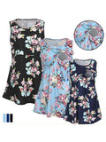 Newbabychic Floral Print Front Open Maternity Sleeveless Nursing Tops