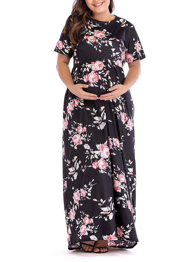 Newbabychic Floral Print Maternity O-Neck Long Sleeve Long Maxi Dress