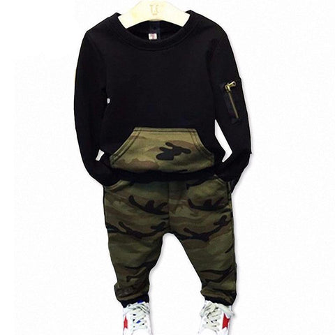 Baby Boy Camouflage Shirt + Pant Outfits Clothing Sets Kids Now Apparel