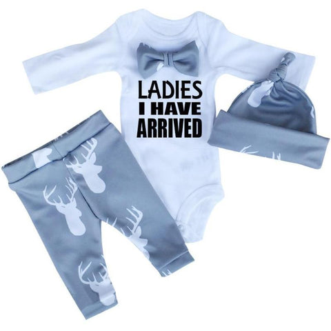 Baby Boy Romper + Pants + Beanie Set Clothing Sets Kids Now Apparel