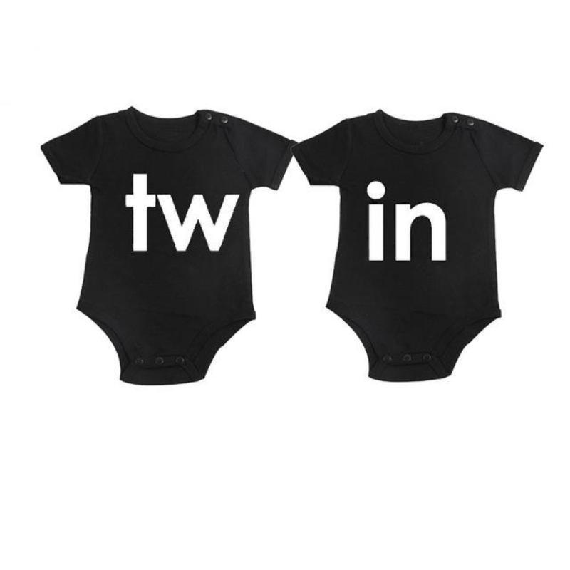 Black Twin Print Cotton Matching Infant Jumpsuit Kids Now Apparel