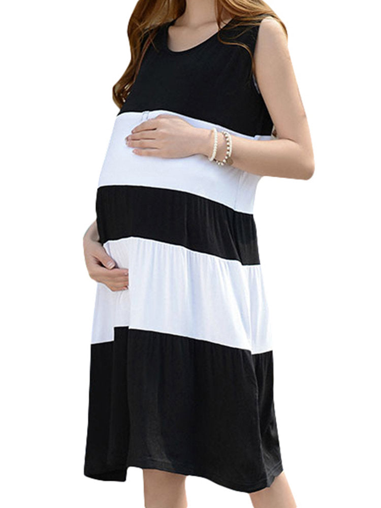 Newbabychic Summer Stripe Maternity Nursing Dresses Breast Feeding Clothes for Pregnant Women Breastfeeding Clothing