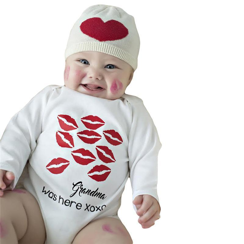 Cute Kiss Print Cotton Full Sleeve Baby Onesies Kids Now Apparel