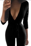 Pure Color V-neck Long Sleeves Tight Long Jumpsuit