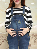 Newbabychic Casual Strap Pocket Denim Jumpsuit For Pregnancy Women