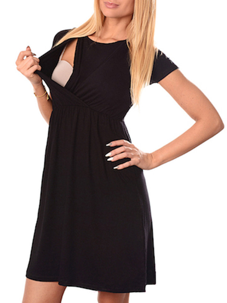 Newbabychic Solid Color Cross Wrap Maternity Nursing Dress