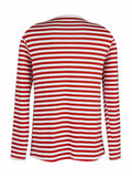 Newbabychic Front Open Pregnant Women Striped Long Sleeve T-shirt