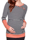 Newbabychic Striped Print Maternity Patchwork Long Sleeve Nursing Tops