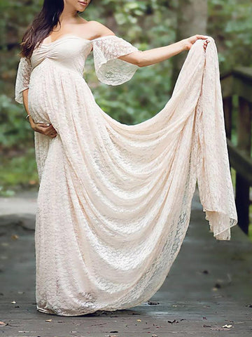 Newbabychic Fancy Lace Off Shoulder Pregnant Women Photography Maxi Dress