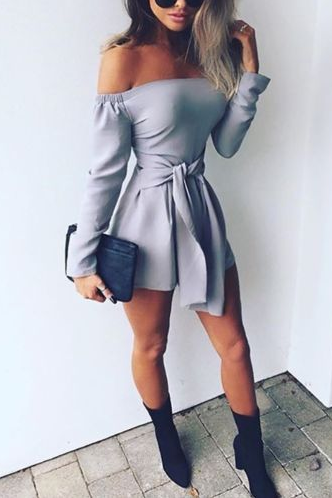 Strapless Bandage Long Sleeves Short Jumpsuit