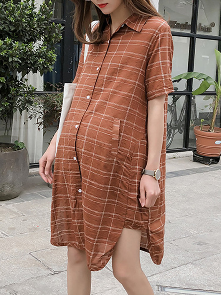 Newbabychic Plaid Printed Cotton Pregnant Women Short Sleeve Shirt Dress