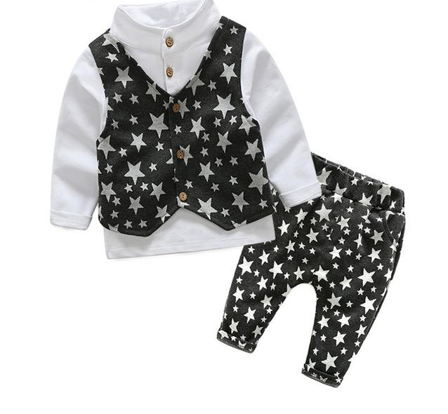 Boys Clothing Sets Autumn Shirt + Vest + Pants Boys Wedding Clothes Kids Gentleman Leisure Stars Suit Boys Clothes