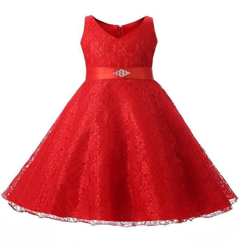 Elegant Embroidery Sleeveless Party Kids Lace Dress Kids Now Apparel