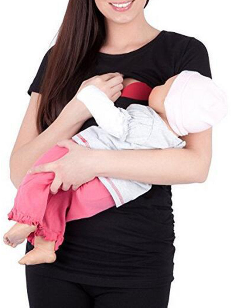 Newbabychic Solid Soft Cotton Maternity Women Nursing Tees