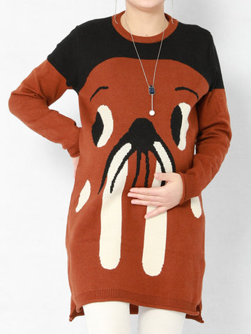 Newbabychic Cartoon Print Maternity Casual Long Sleeve Knitted Tops