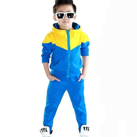 Fashion Patchwork Hooded Coats And Pants Toddler Tracksuits Kids Now Apparel