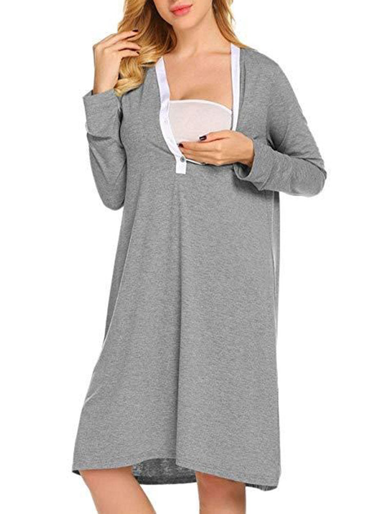 Newbabychic V-Neck Maternity Comfy Sleepwear Nursing Dress