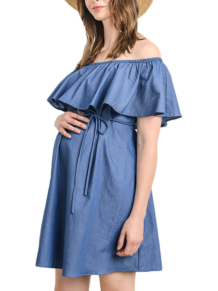 Newbabychic Off Shoulder Denim Maternity Dress
