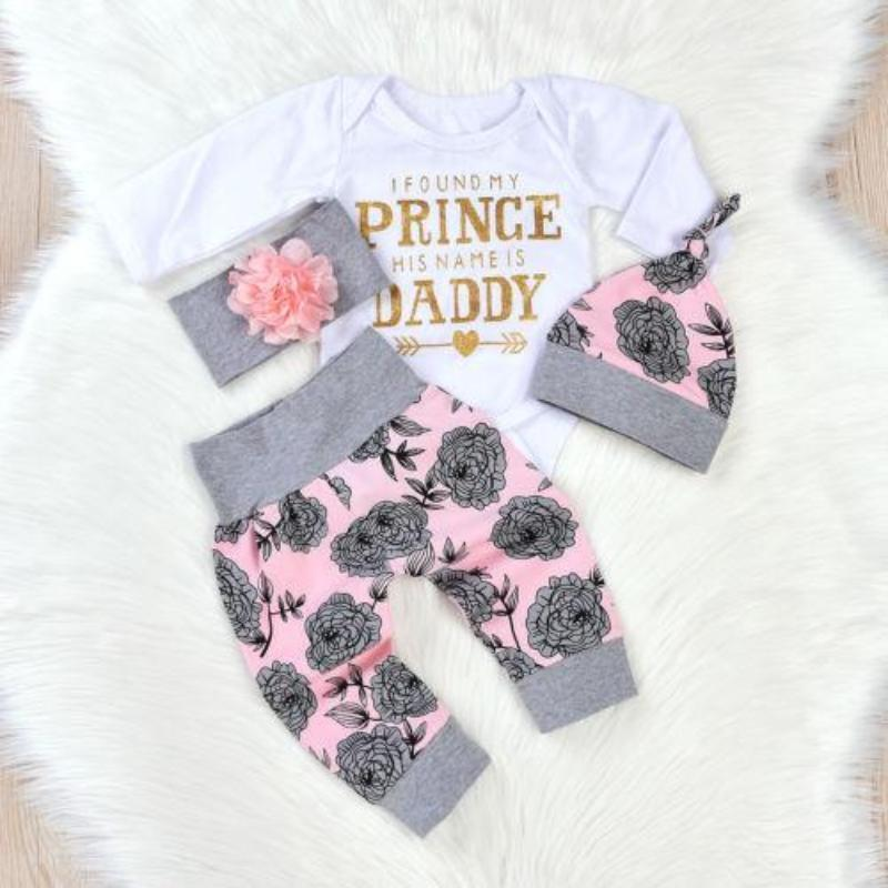 Floral Letter Print Trendy Baby Girl Clothes Kids Now Apparel